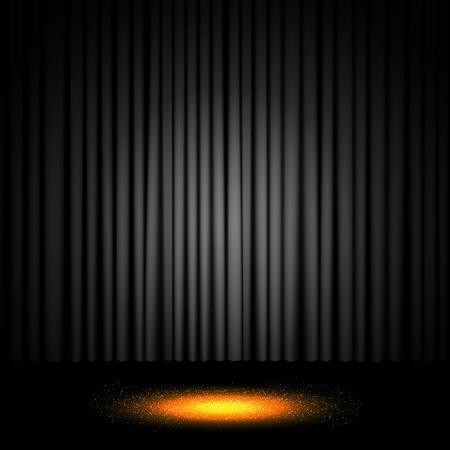 Background with black curtain. Design for presentation, concert, show. Vector illustration Ilustracja