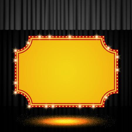 Shining retro banner on black stage curtain. Vector illustration Zdjęcie Seryjne - 122452855