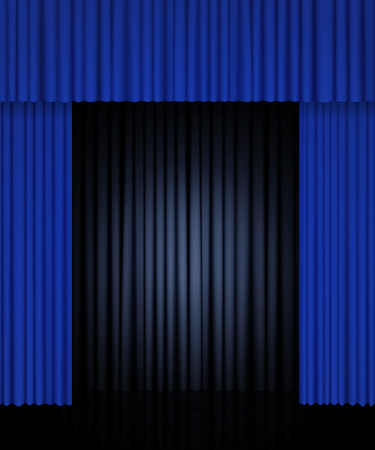 Background with black and blue curtain. Design for presentation, concert, show. Vector illustration Zdjęcie Seryjne - 122762528