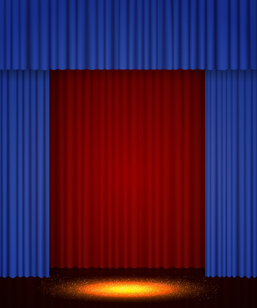 Empty theatre stage with red and blue curtain. Background for show, presentation, concert, design Zdjęcie Seryjne - 122305194