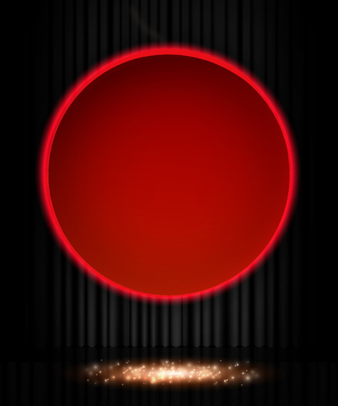 Shining retro red round banner on black stage curtain. Vector illustration Zdjęcie Seryjne - 122762536