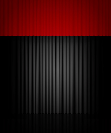 Background with black and red curtain. Design for presentation, concert, show. Vector illustration Zdjęcie Seryjne - 122762533