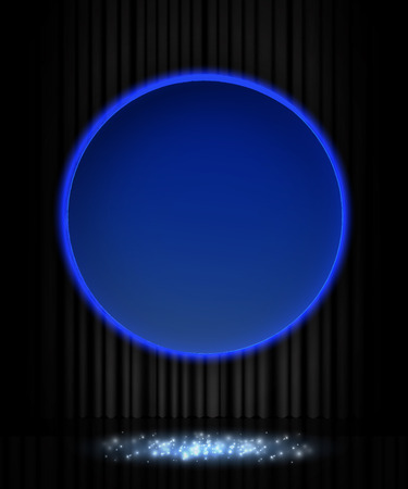 Shining retro blue round banner on black stage curtain. Vector illustration Zdjęcie Seryjne - 122762535