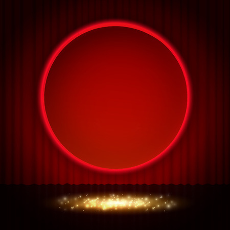 Shining retro red round banner on stage curtain. Vector illustration Zdjęcie Seryjne - 122762537