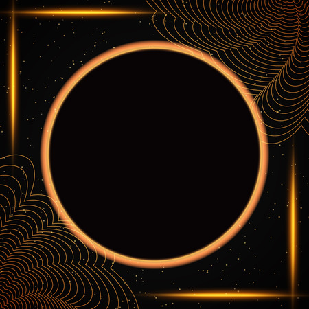 Luxury black and gold background with round banner. Design for presentation, concert, show. Vector illustration Zdjęcie Seryjne - 122762539