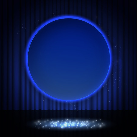 Shining retro blue round banner on stage curtain. Vector illustration