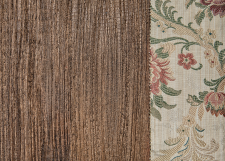 Floral green fabric on the old wood background Stock Photo