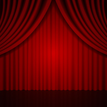 Background with red theatre curtain. Vector illustration Illustration