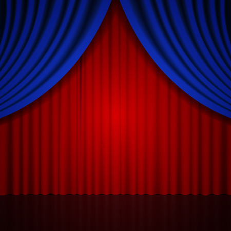 Background with blue and red curtain. Vector illustration Illustration