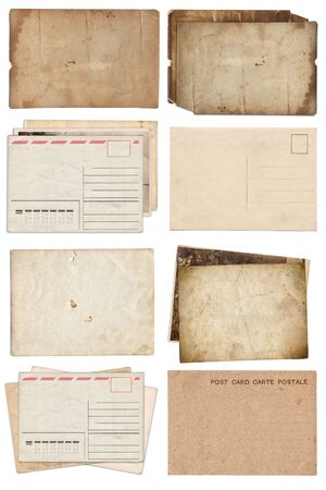 Set of various Old papers and postcards with scratches and stains texture isolated on white Standard-Bild