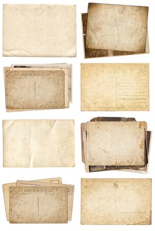 Set of various Old papers and postcards with scratches and stains texture isolated on white Stok Fotoğraf