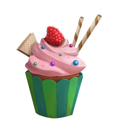 Sweet cupcake with red raspberry and wafer isolated. Digital illustration