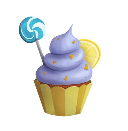 Sweet blue cupcake with lemon and lollipop isolated. Digital illustration Zdjęcie Seryjne