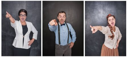 Set of angry screaming people pointing out on blackboard background