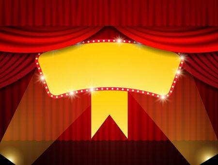 Shining retro banner on stage curtain. Vector illustration