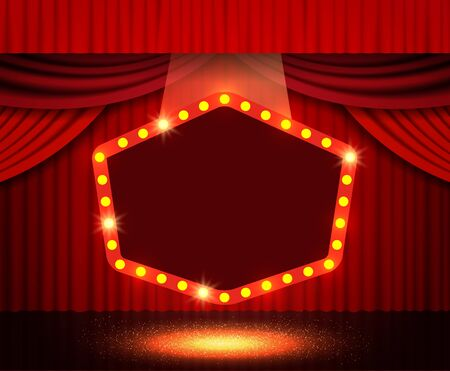 Shining retro banner on stage curtain. Vector illustration Фото со стока - 130361596