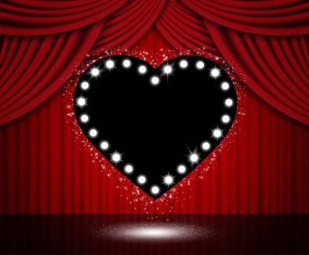Fondo de cortina roja con corazón negro. Ilustración vectorial