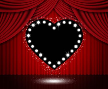 Red curtain background with black heart. Vector illustration