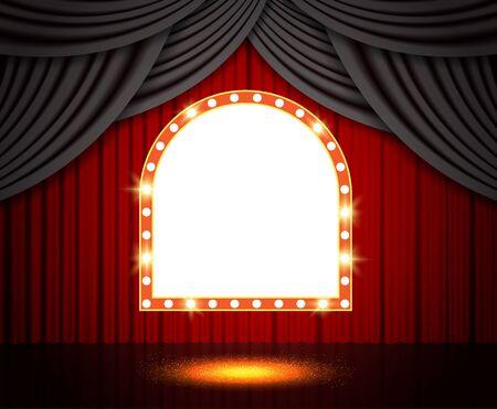 Shining retro banner on stage curtain. Vector illustration Фото со стока - 130362168