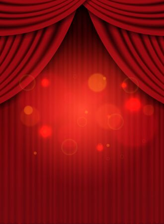 Background with red curtain. Design for presentation, concert, show. Vector illustration Иллюстрация