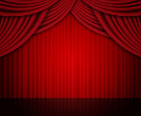 Background with red curtain. Design for presentation, concert, show. Vector illustration Фото со стока - 130362174