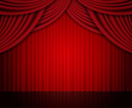 Sfondo con tenda rossa. Design per presentazione, concerto, spettacolo. Illustrazione vettoriale Vettoriali