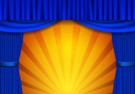 Background with blue circus curtain. Design for presentation, concert, show. Vector illustration