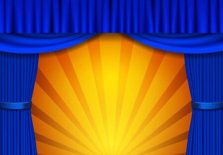 Sfondo con sipario da circo blu. Design per presentazione, concerto, spettacolo. Illustrazione vettoriale Vettoriali