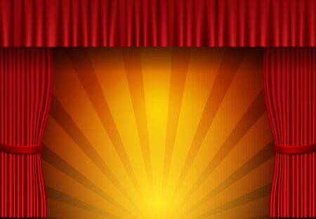 Background with red circus curtain. Design for presentation, concert, show. Vector illustration 向量圖像