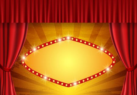 Background with retro banner on circus vintage curtain. Design for presentation, concert, show 向量圖像