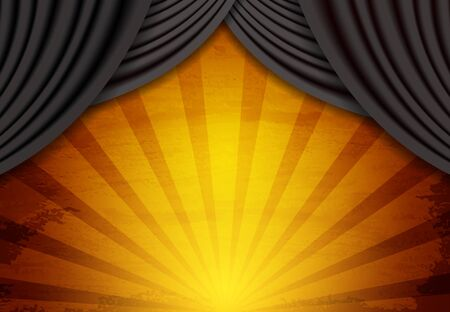 Background with black circus vintage curtain. Design for presentation, concert, show. Vector illustration