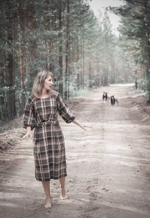 Scary woman and ghosts on the road in forest outdoor
