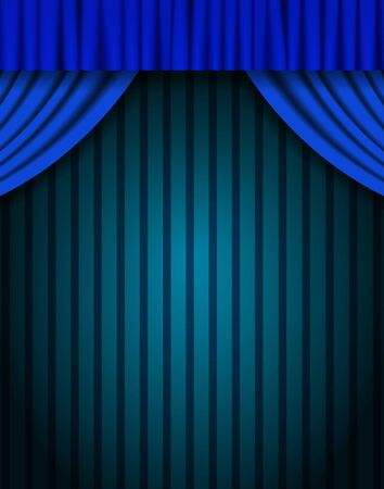 Blue curtain on vintage background. Design for presentation, concert, show. Vector illustration