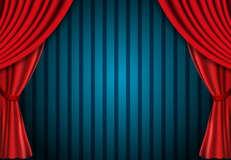 Red curtain on blue vintage background. Design for presentation, concert, show. Vector illustration Vettoriali