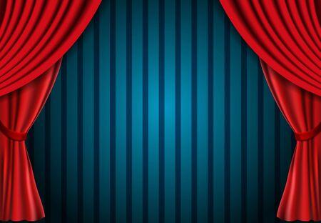 Roter Vorhang auf blauem Vintage-Hintergrund. Design für Präsentation, Konzert, Show. Vektor-Illustration Vektorgrafik