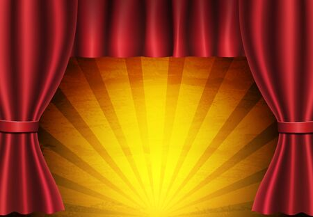 Red curtain on circus vintage background. Design for presentation, concert, show. Vector illustration