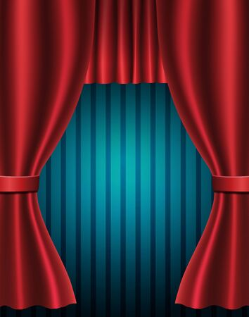 Red curtain on blue vintage background. Design for presentation, concert, show. Vector illustration 向量圖像