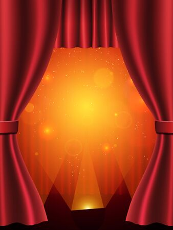 Background with red theatre curtain. Vector illustration Иллюстрация