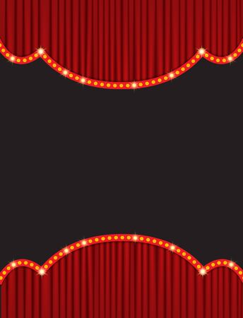 Background with red curtain. Design for presentation, concert, show. Vector illustration 向量圖像