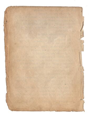 Altes Papier mit Kratzern und Flecken Textur isoliert auf weiß Standard-Bild