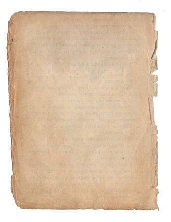 Papel viejo con textura de rayas y manchas aislado en blanco Foto de archivo