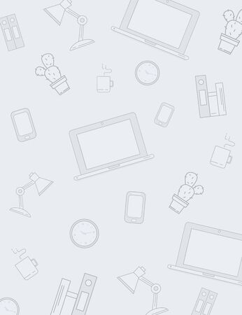 Workplace office pattern background with laptop, coffee, lamp, telephone, folder. Vector creative style for design  Illustration
