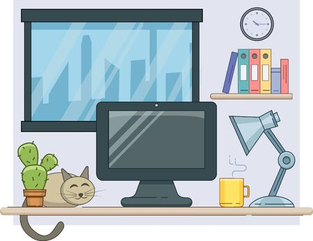 Modern cozy workplace background with laptop, lamp, coffee and cat. Vector minimalistic creative style for design