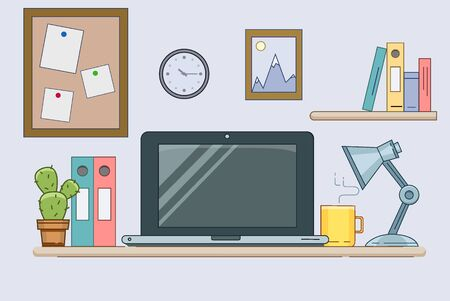 Flat illustration of modern workplace. Minimalistic vector creative style for design