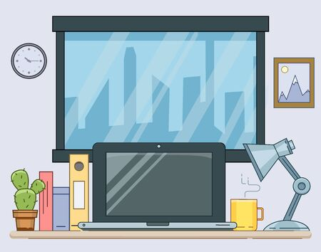 Flat illustration of modern workplace. Vector Minimalistic creative style for design