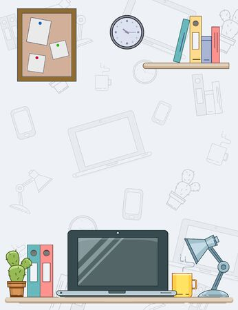 Modern workplace background with laptop, lamp, coffee and flower. Vector minimalistic creative style for design