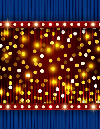 Shining sparkle background with blue curtain. Design for presentation, concert, show. Vector illustration