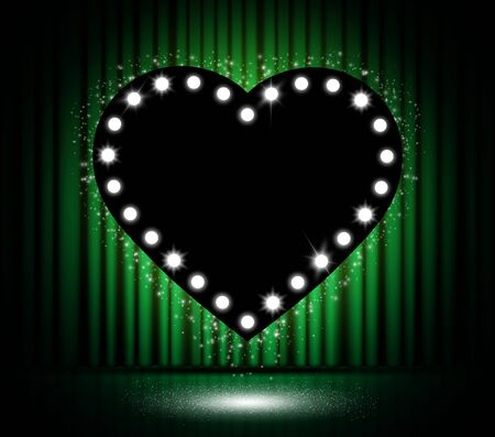 Shining black heart on stage with green curtain. Vector illustration design for Valentines day
