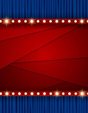 Red layered background with blue curtain. Design for presentation, concert, show. Vector illustration