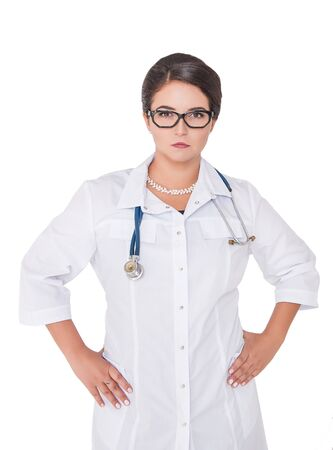 Serious doctor woman looking at you isolated on white Stock Photo